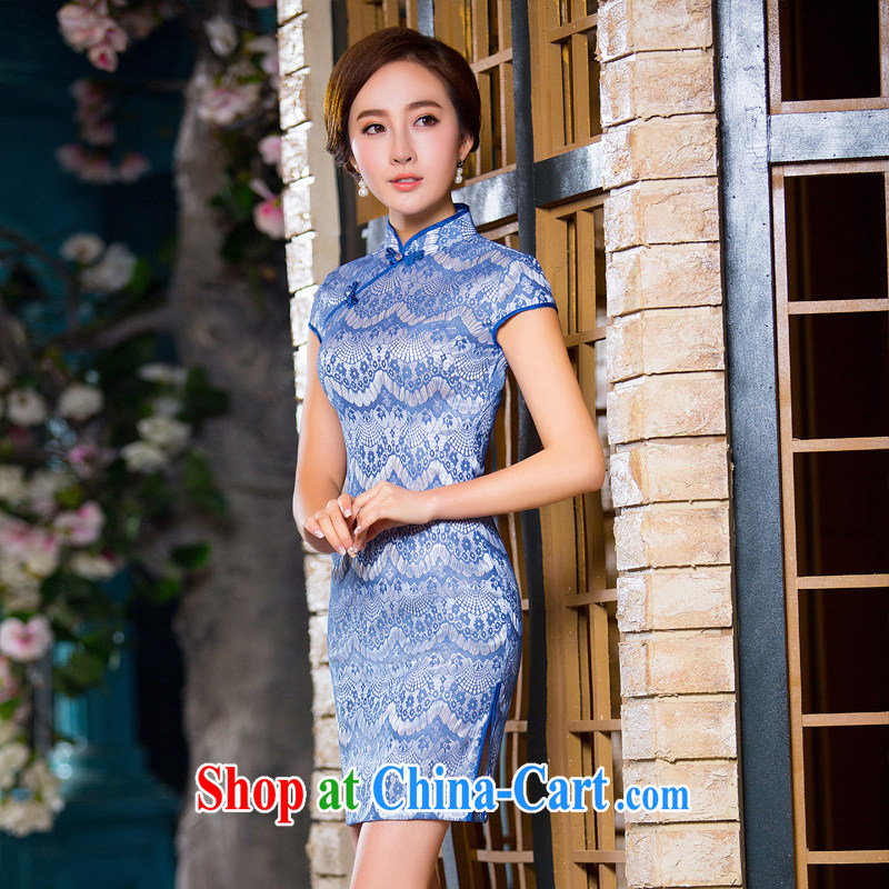 The Yee-new, blue 2015 summer boutique moire composite lace cheongsam dress summer retro daily improved cheongsam dress L