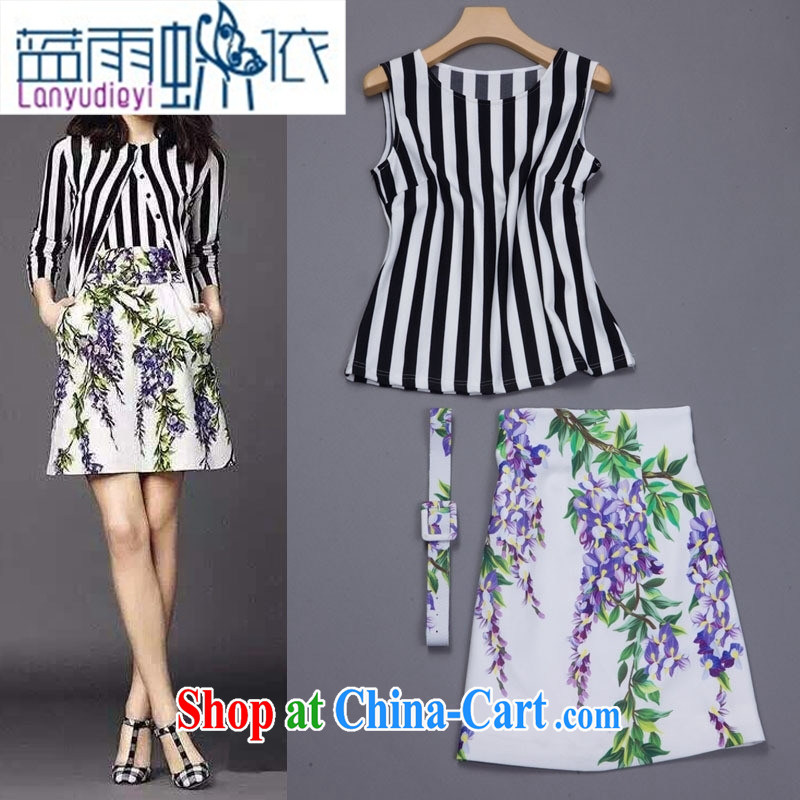 Ya-ting store retro model show name-yuan style stamp long-sleeved T-shirt + package and crowsfoot half skirt two piece stylish european spring picture color L