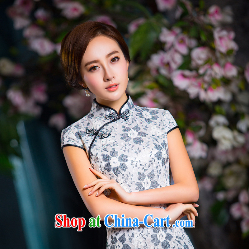 The cross-sectoral, Elizabeth, high-end ladies lace composite dress solid color improved cheongsam dress dress L