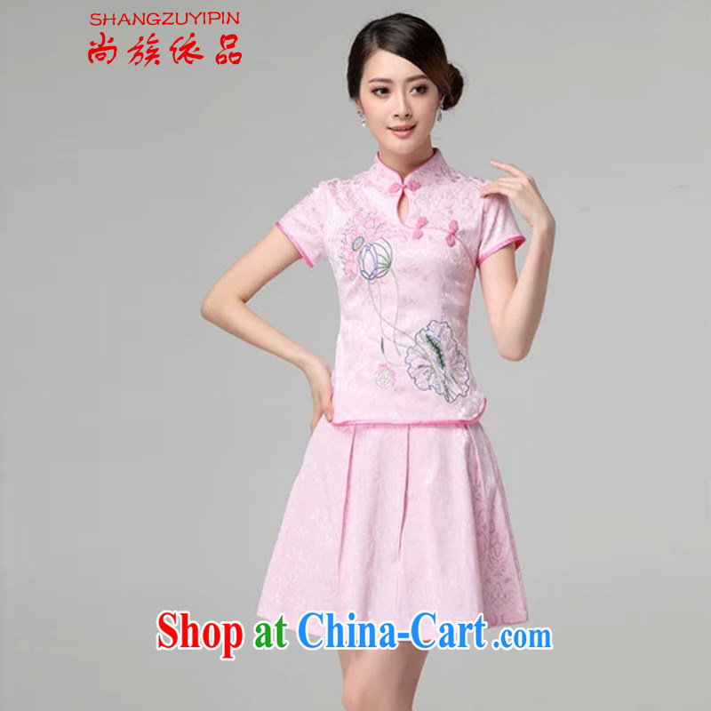 There are communities in 2015, spring and summer female new beauty routine retro long-sleeved improved cheongsam stylish two-piece with pink short-sleeved XL
