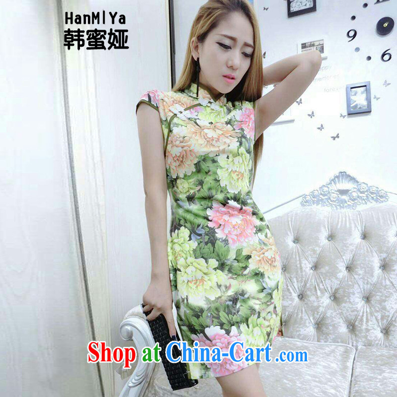 Korean honey Julia _HanMiYa_ 2015 new retro sexy night dress up outfit the truck package and tight dresses DR 32,173 yellow L