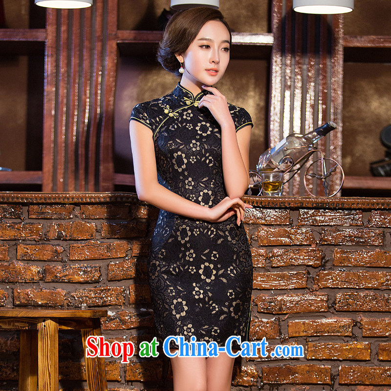 The Yee-sha Xin, Jacob black lace black temptation beauty cheongsam dress retro elegant improved cheongsam dress summer XL 2