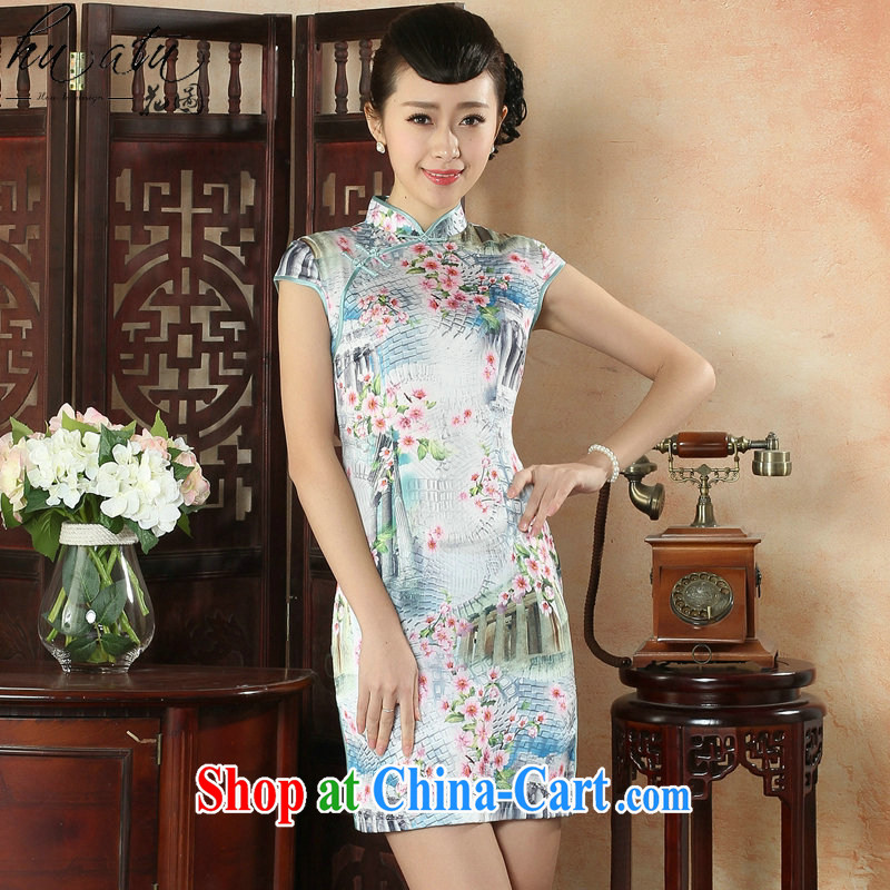spend the summer, new outfit, Ms. Tang with Chinese improved, for the hard-pressed damask features short cheongsam dress such as the color 2 XL