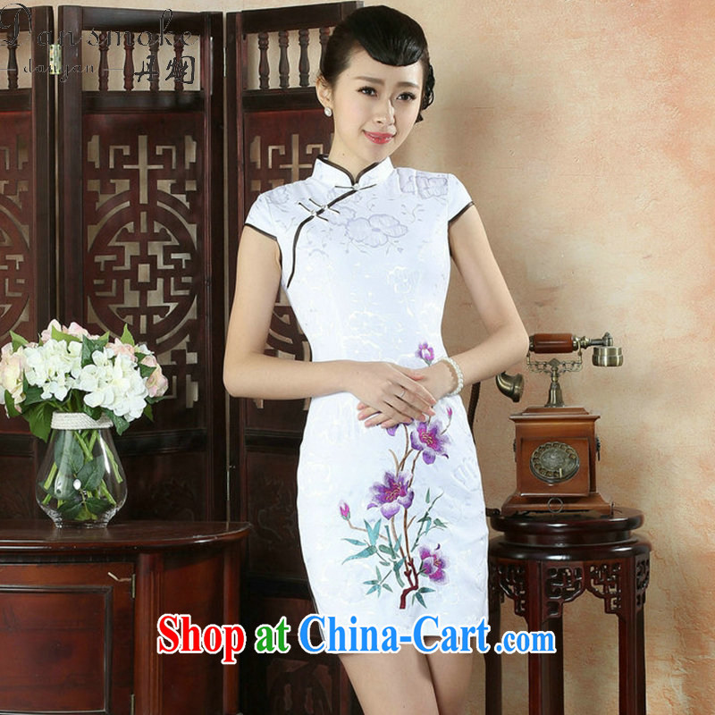Bin Laden smoke outfit, Ms. summer new Chinese improved the collar embroidered pastel Retro is a tight short cheongsam dress purple 2 XL