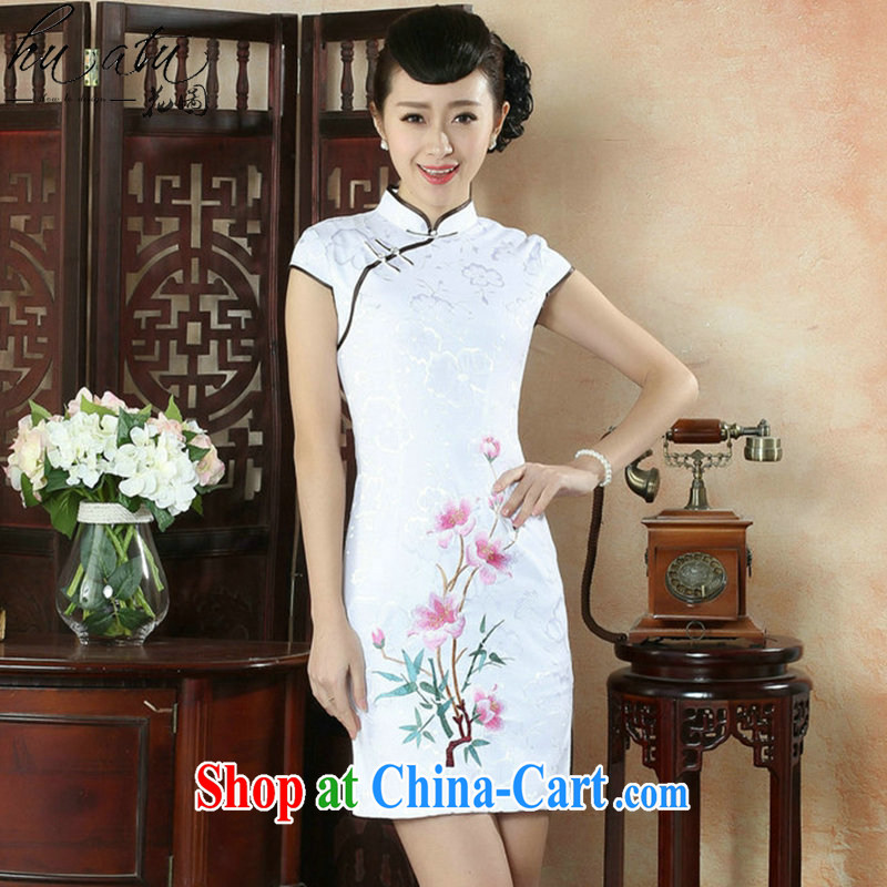 Take the ladies dresses summer new Chinese improved the collar embroidered pastel Retro is a tight short cheongsam dress pink 2 XL