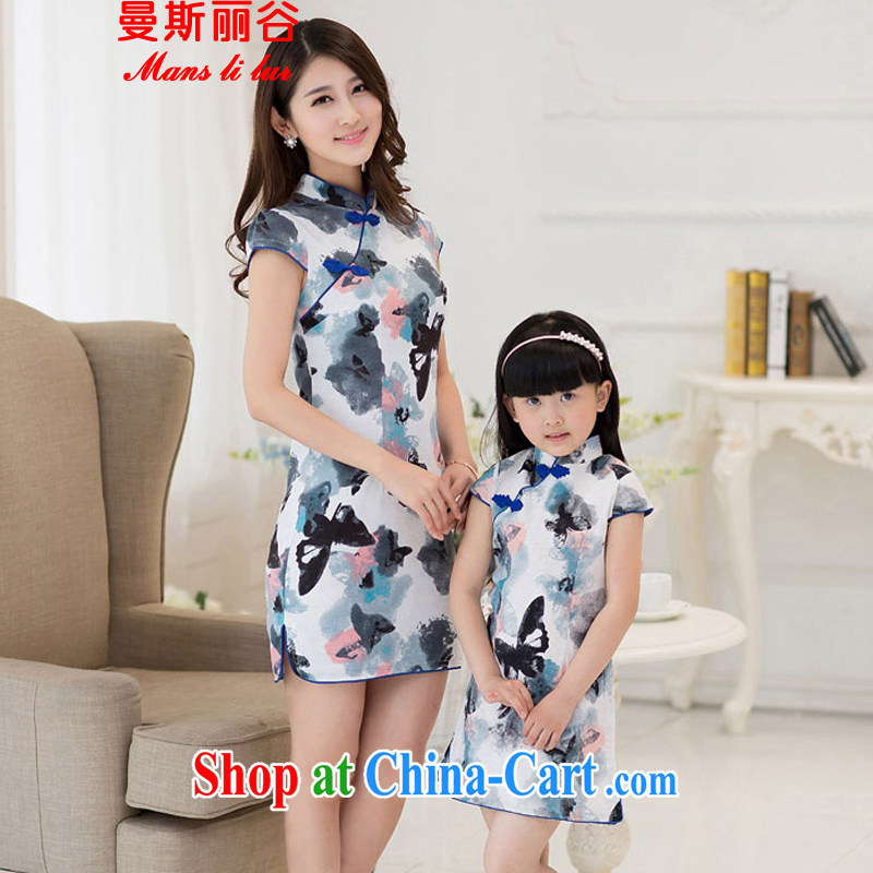 The beautiful valley 2015 new short-sleeved round-collar, the stamp duty retro the forklift truck-load cheongsam dress qipao child female butterfly flower S