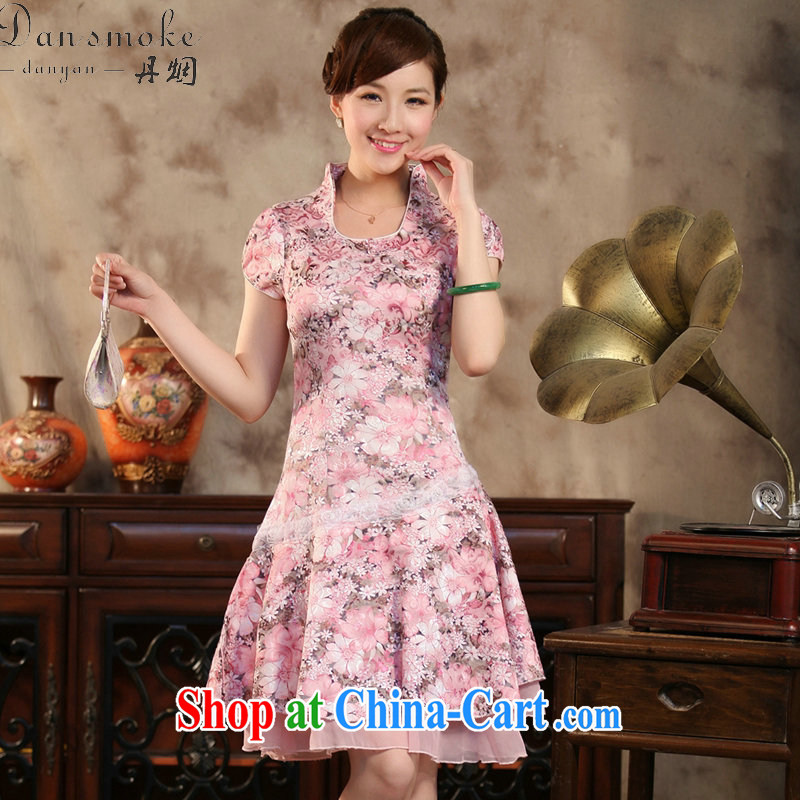 Dan smoke summer new female qipao Chinese improved U for cultivating graphics thin short-sleeve is a swing skirt cheongsam dress such as the color XL
