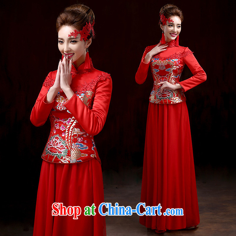 Toast Kit 2015 new stylish red wedding dresses bridal long beauty dress Chinese Dress bridal wedding package red XXXL