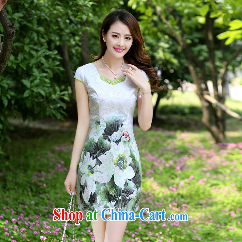 Zen Dragon Kit 2015 new summer lady stylish beauty improved short-sleeve cheongsam dress Green lotus XL