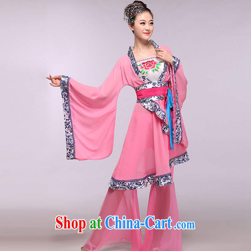 The dancing butterfly -- 2015 New Fan Dance skirt dance performances serving classic costumes package pink S