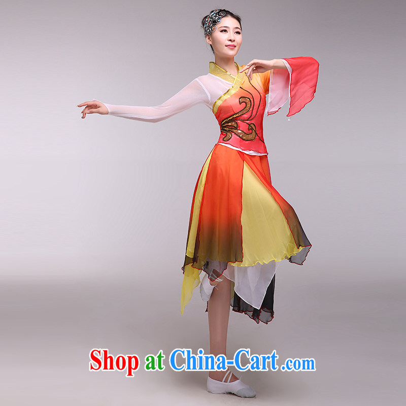 national costumes stage costumes female classical dance fans dance clothing dancing dresses dance wear orange L