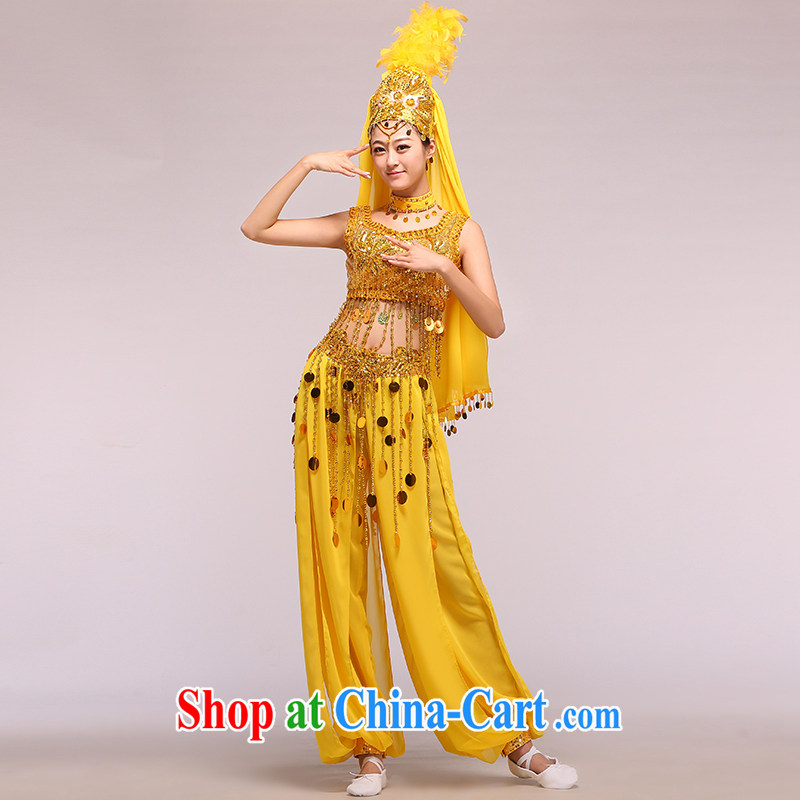 Belly Dance Xinjiang Dance India dance Grand Uygur dance serving minority clothing gold M