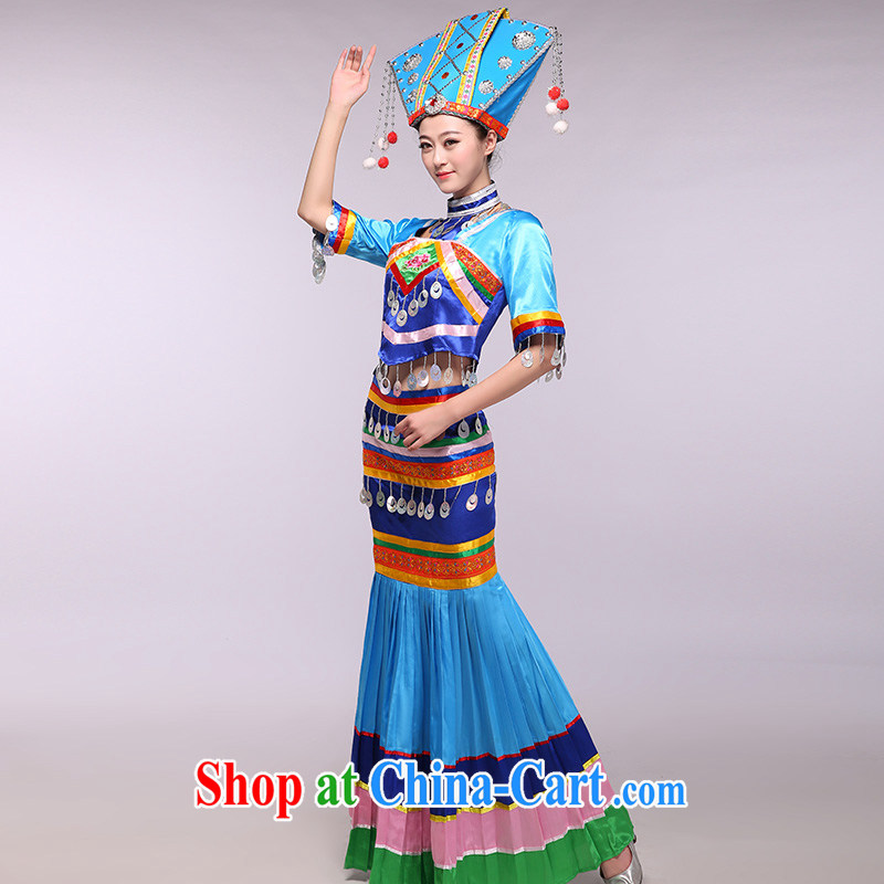 The blue Zhuang -- 2015 new Zhuang costumes classical national costumes dance clothing blue XXXL