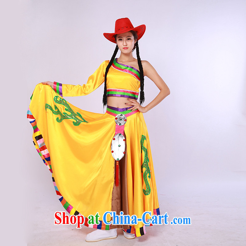 William So dance apparel women's most stunning National Air Show clothing Tibetan dance costumes orange L