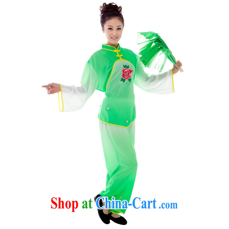 yangko dance costumes female national service stage the opening Dance Square dance Fan Dance Lime Green large peony all code