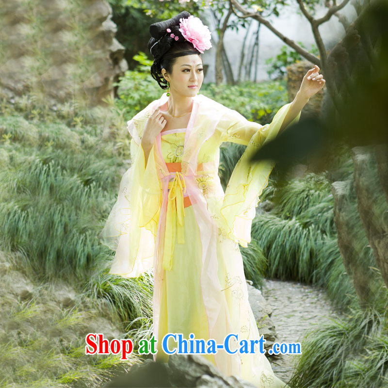 Costumed fairy clothing Chinese clothing, female COS queen sleeper sofa stage drama photo yellow are code
