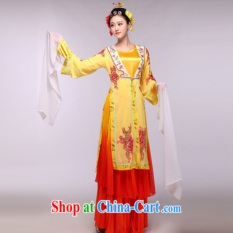 The 100 flowers bloom as soon as possible her 2015 new yellow classical dance stage costume clothing dance yellow L - pre-sale