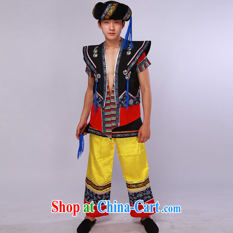 New male minority clothing Yi dance clothing 4 piece costume as shown color L
