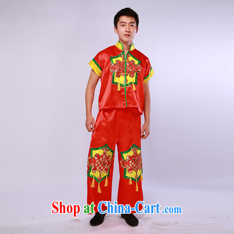 Men's National yangko serving modern dance TA serving festive dance dress opening dance red L