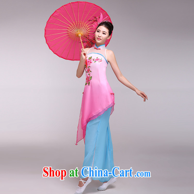 national costumes stage costumes female classical dance fans dance clothing bamboo following dance clothing pink L
