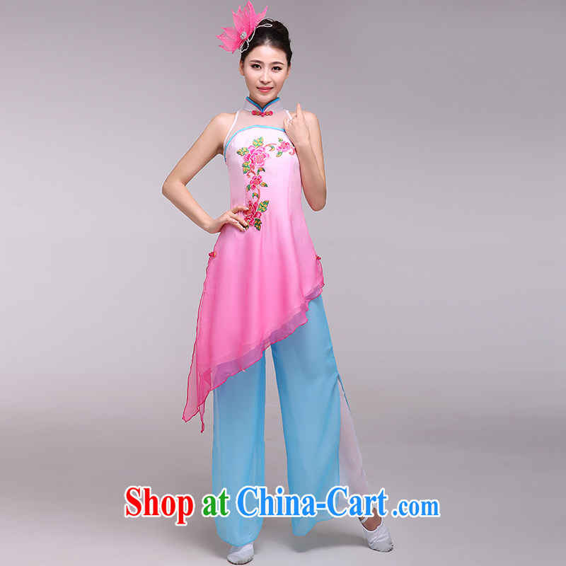 national costumes stage costumes female classical dance fans dance bamboo serving the dance clothing pink L, music, and shopping on the Internet