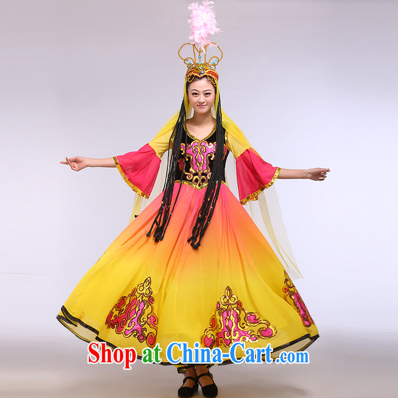 Xinjiang Uygur dance clothing Girls show clothing and ornaments national costumes beautiful girl figure color L