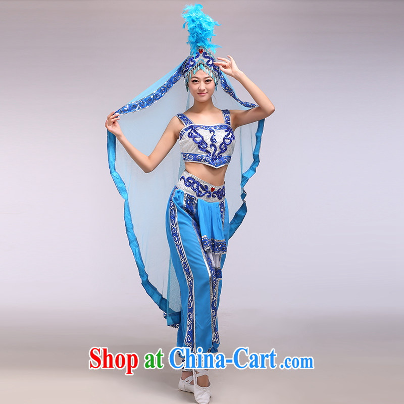 Xinjiang dance performances serving female Xinjiang Dance ethnic minorities and?modern dance Xinjiang's love blue L