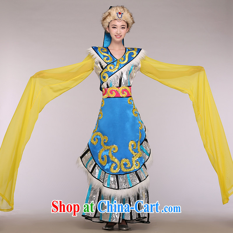 Tibetan ethnic costumes female stage with new, dance clothing water cuff serving performances performances serving large blue number