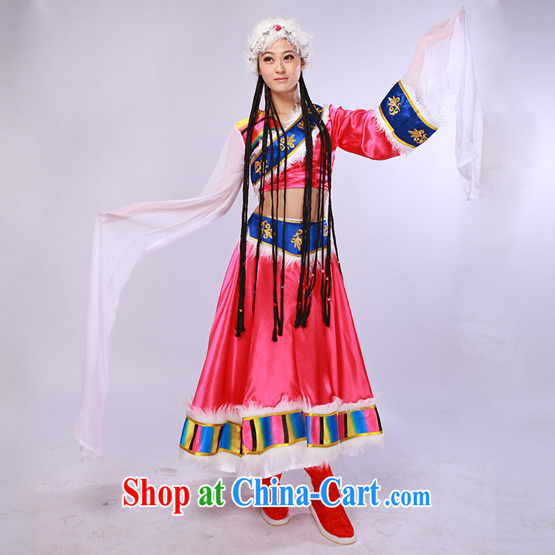 Tibetan dance clothing ethnic costumes female costume Tibetan dance serving the red S