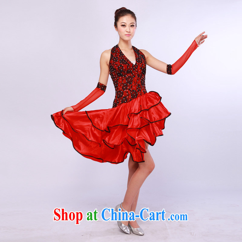 Ms. red Latin dress modern dance skirt costumes opening dance Latin precisely clothing red L