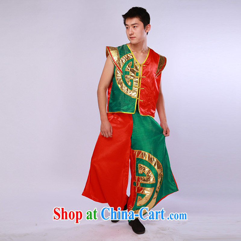 New Men's China wind modern dance uniforms and encouraging seedlings song and dance performances serving stage shows red and green L