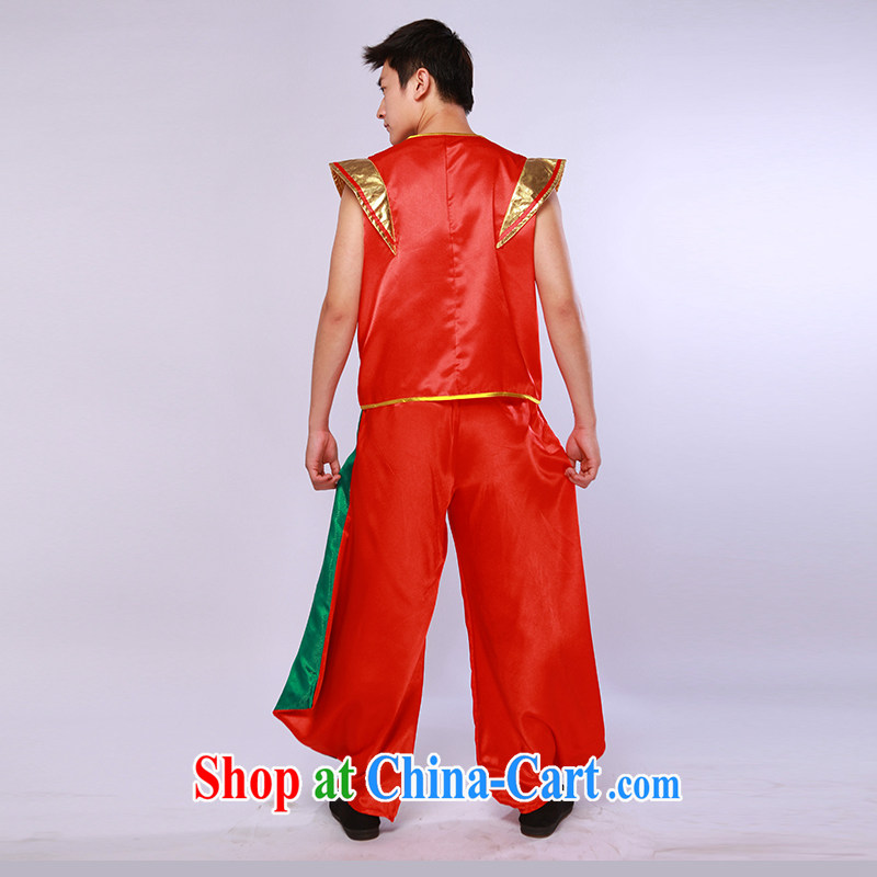 New Men's China wind modern dance uniforms and encouraging seedlings song and dance performances service stage performances red and green L, music, and Internet shopping