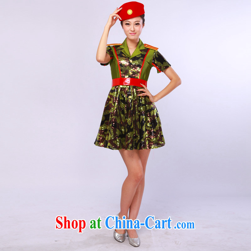 camouflage clothing uniforms, dance clothing military square dancers dance clothing stage costumes army green L