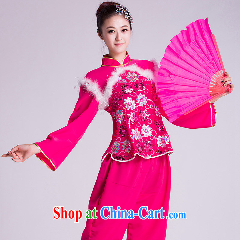 Yangge clothing costumes new paragraph 2, the fan Dance Square dance folk dance of serving red L