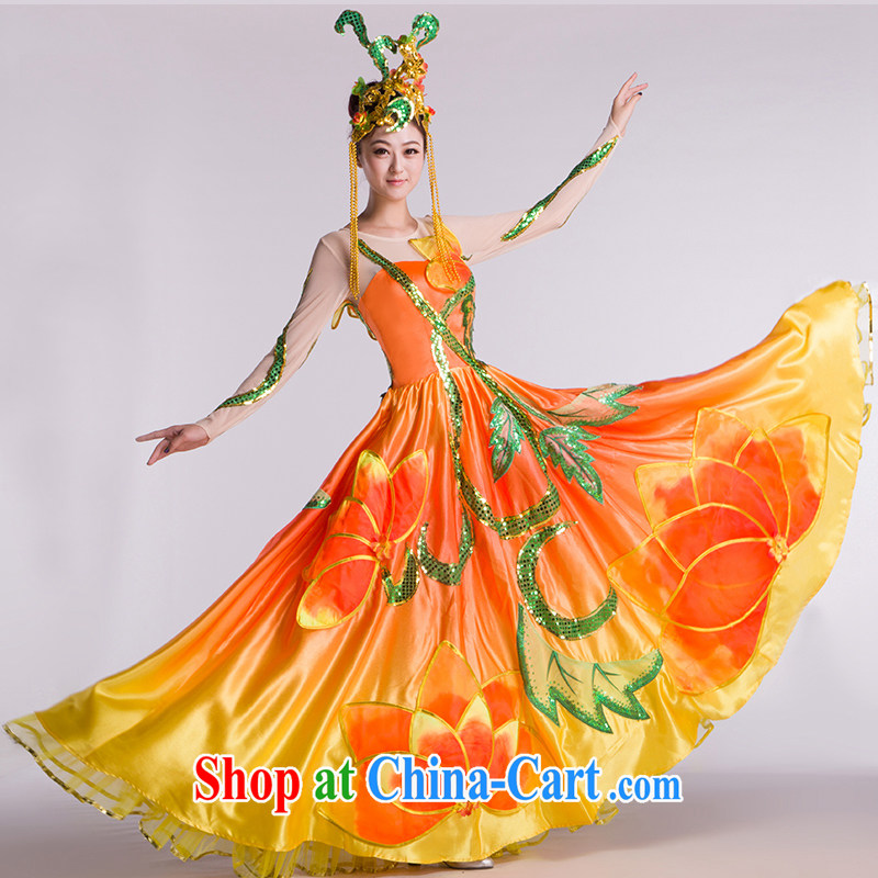 new, modern dance costumes dance show the swing skirt National Dance service orange and yellow transition L