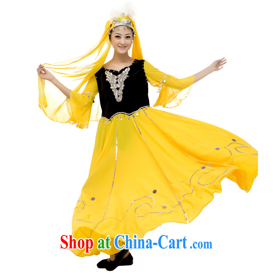 Xinjiang's clothing costumes dance costumes female opening dance swing skirt costumes yellow L