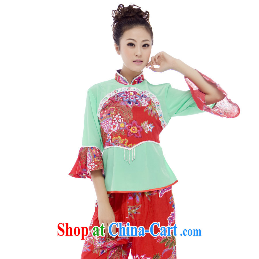Yangge clothing special dance costumes and performances stage costumes Janggu clothing red floral XL