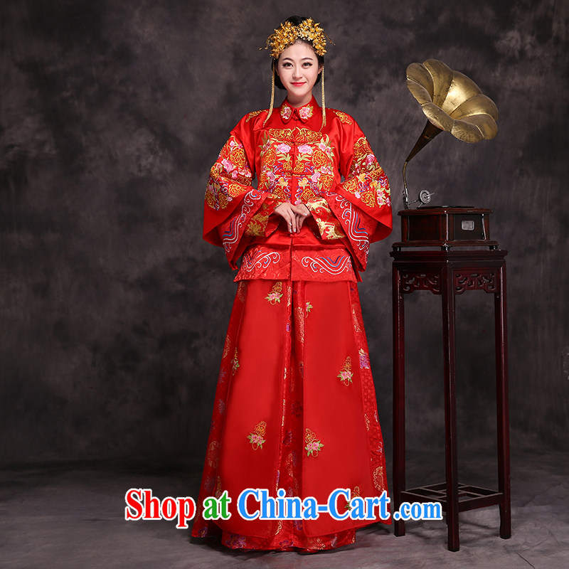 Costumed wedding service and elegant Chinese Shuangxi Sau WO Service Bridal dress Chinese dress uniform toasting red XL _chest of skirt 108 elastic_