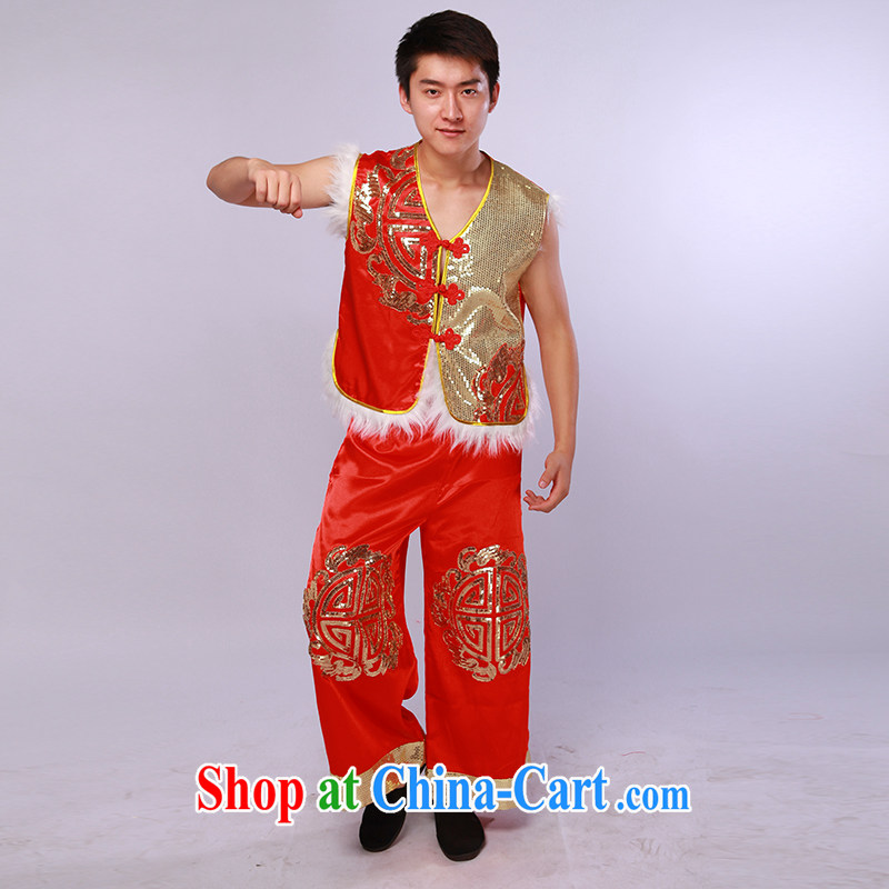 New Men's modern dance clothing in northern shaanxi people's national costumes Festive show clothing red L