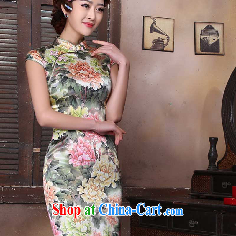 2015 new spring and summer retro beauty dress Ethnic Wind daily short silk stamp style dress suit XXL