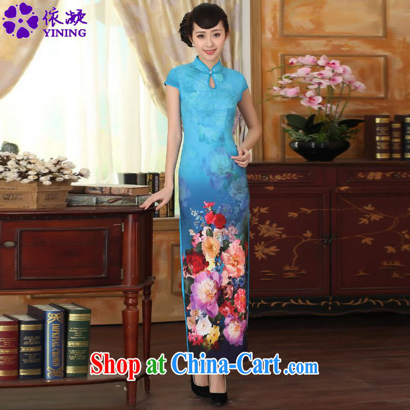 According to fuser new female retro improved dresses, suits for cultivating short-sleeved long cheongsam dress LGD/C #0010 figure 2 XL