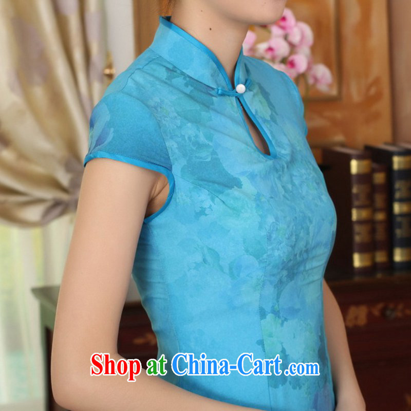 According to fuser new female retro improved dresses, suits for cultivating short-sleeved long cheongsam dress LGD/C #0010 figure 2 XL, fuser, and shopping on the Internet