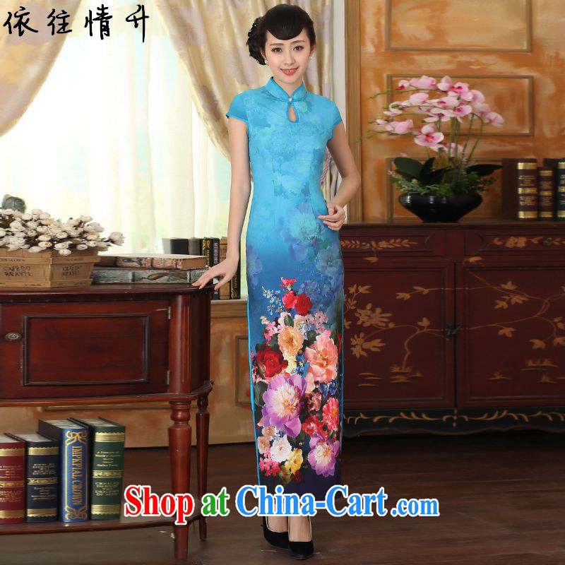 According to the situation in new clothes retro improved dresses, suits for cultivating short-sleeved long Chinese qipao dress LGD/C #0010 figure 2 XL