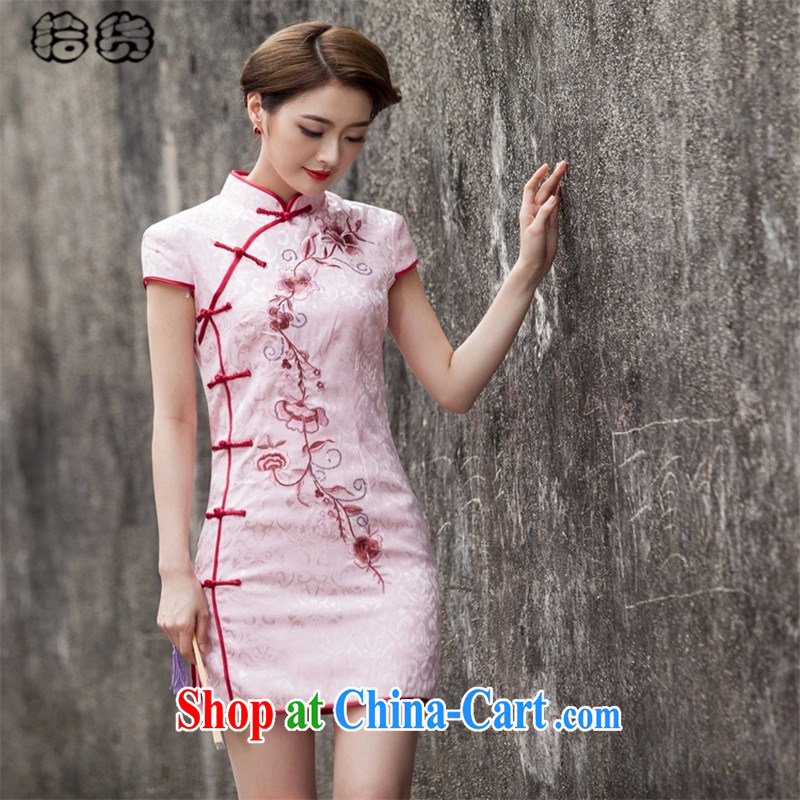 Pick up the 2015 Mr Ronald ARCULLI, Mr Henry TANG with retro improved daily cheongsam dress beauty graphics thin fancy embroidery stylish low the forklift truck flap sporting short cheongsam girls pink XXL