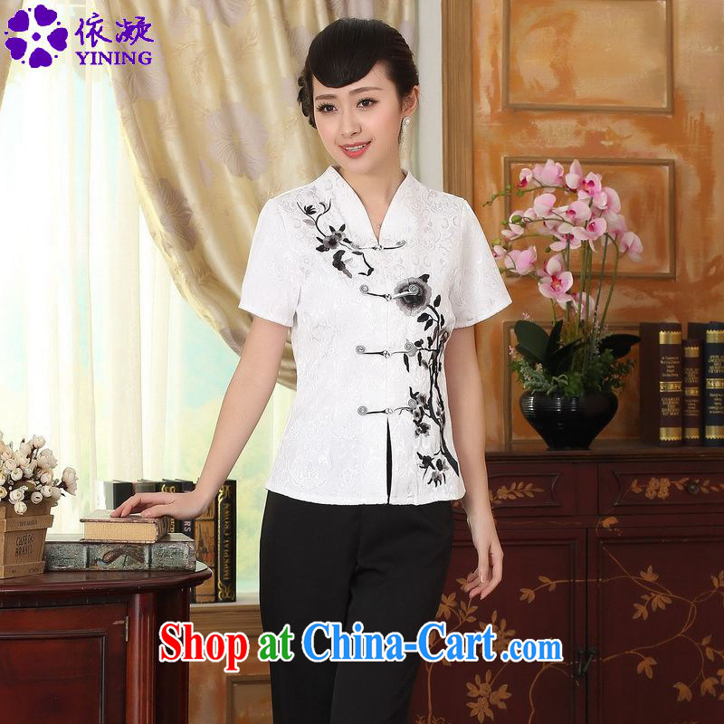 According to fuser new female Ethnic Wind improved Tang fitted T-shirt, collar Classic tray for cultivating short-sleeved Chinese T-shirt LGD/A #0082 white 2XL