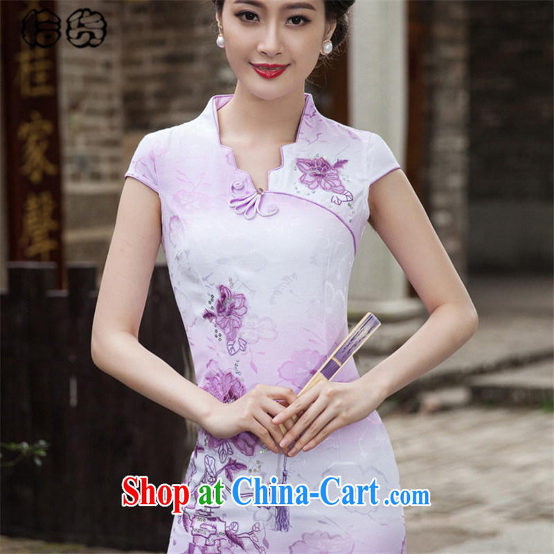 Pick up the 2015 summer, and the relatively short, not the forklift truck cheongsam dress retro China wind fresh and elegant embroidery flowers Daily Beauty package and cheongsam dress dress violet XXL