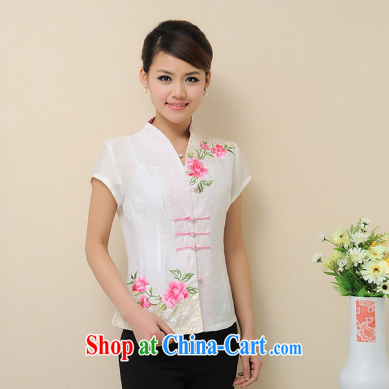Putin's 2015 clone the Code women cotton summer the Chinese T-shirt retro Peony embroidery, short, short-sleeved LB - WCY - 118 white XXXXL
