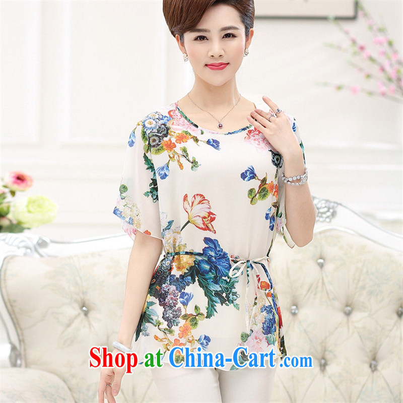 Ya-ting store summer new short-sleeved mom with silk shirts T-shirts and indeed XL sauna silk stamp middle-aged T-shirt Peacock Blue 4 XL