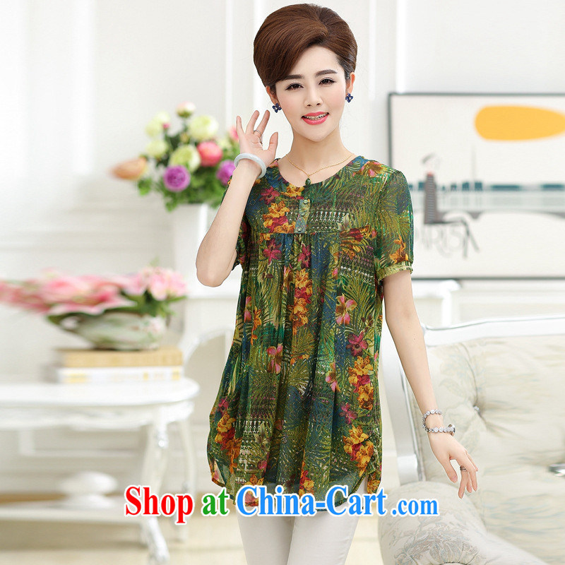 Ya-ting store summer new middle-aged and older women wear silk shirts upscale style and Stylish large code MOM with a short-sleeved shirt T body skirt XXXL cheerful, blue rain bow, and shopping on the Internet