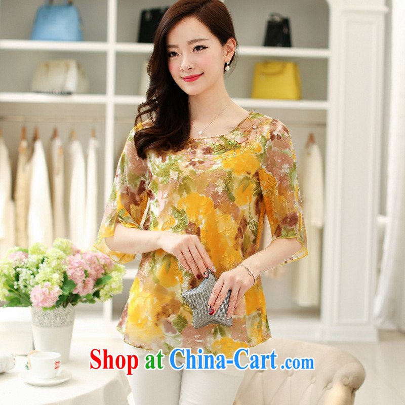 Ya-ting in store older female summer sauna silk 40 - 50-year-old mother's day mom with silk shirt T stamp T-shirt large code and color ring 4 XL